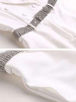Elegant Turn Down Collar Belted Slim Jumpsuit