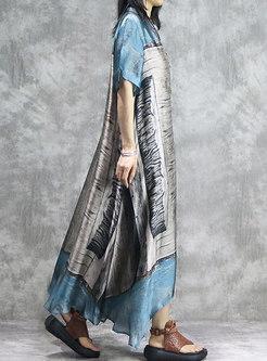 Print O-neck Asymmetric Maxi Dress With Cami