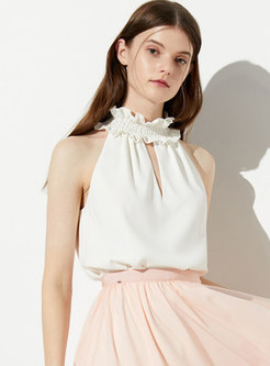 Chic Ruffled Collar Sleeveless Hollow Out Top