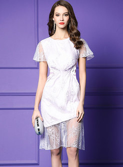 See-through Embroidered Lace Splicing Bodycon Dress
