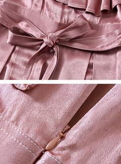 Loose Pure Color Slash Neck Falbala Belted Jumpsuit