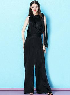 Fashion O-neck Sleeveless High Waist Black Jumpsuit