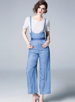 Solid Color T-shirt & Comfortable Denim Overalls