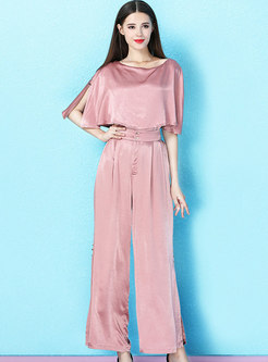 Solid Color High Waist Split Two-piece Pants