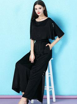 Fashion Black Slim O-neck Split Two-piece Pants