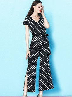 Fashion V-neck Short Sleeve Polka Dot Waist Jumpsuits