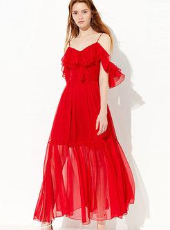Sexy Slash Neck Sleeveless Waist Big Hem Dress