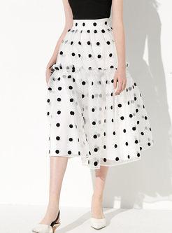 High Waisted Mesh Polka Dot Big Hem Skirt