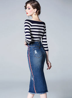 Three Quarters Sleeve Striped Top & Denim Slim Skirt