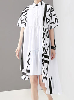 Casual Lapel Geometric Print Irregular Dress