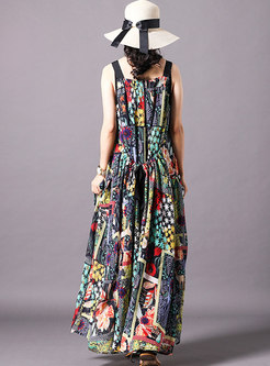 Floral Square Neck Sleeveless Holiday Slip Dress