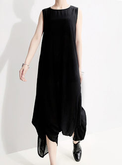 Brief O-neck Sleeveless Loose Irregular Jumpsuits