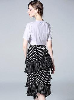Brief White T-shirt & Polka Dot Falbala Skirt