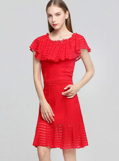 Slash Neck Solid Color Knitted Two Piece Outfits