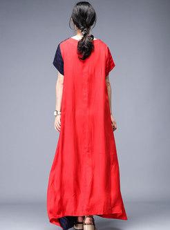 Color-blocked V-neck Short Sleeve Maxi Dress