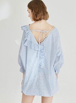 V-neck Lantern Sleeve Backless Striped Blouse