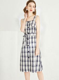 Retro Square Neck Plaid Bowknot Waist A Line Dress