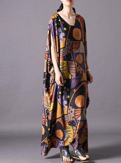 Print V-neck Bat Sleeve Loose Maxi Dress