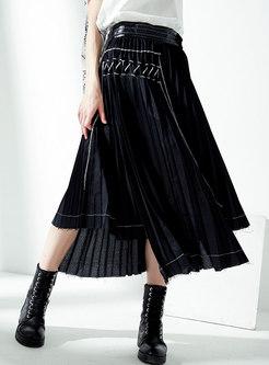 Stylish Splicing High Waist Asymmetric Pleated Skirt