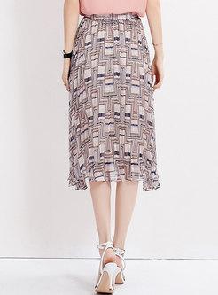 Stylish Print High Waist Pleated Skirt