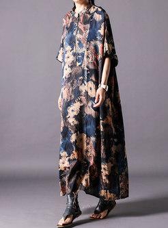 Vintage Print Stand Collar Bat Sleeve Loose Dress