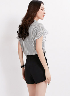 Elegant Black High Waist Buckle Shorts