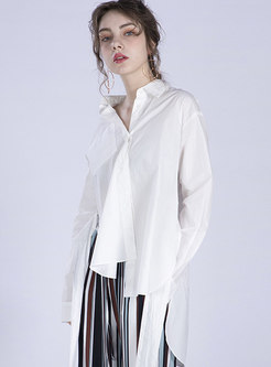 Stylish Summer White Asymmetric Tied Split Blouse