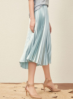 Solid Color All-matched High Waist Pleated Slim Skirt