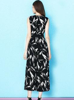 Fashion V-neck Sleeveless Print Tied Split Jumpsuit