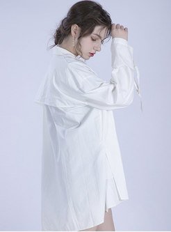 Brief Belted Lapel White Cotton Casual Trench Coat