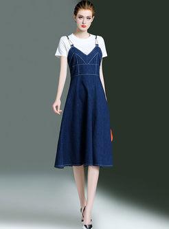 Brief White O-neck T-shirt & Denim High Waist Sling Dress