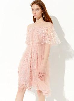 Chic Mesh Sequined Slash Neck Slim Dress