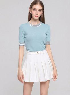 O-neck Slim Pullover T-shirt & Mini Pleated Skirt