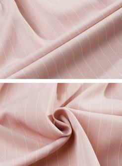 Solid Color Striped Gathered Waist Vest