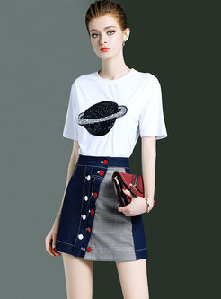 Fashion Sequined Pullover T-shirt & Denim Mini Skirt