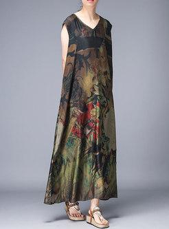 Vintage V-neck Print Sleeveless Silk Maxi Dress