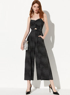 Polka Dot Sleeveless Hollow Out Slim Jumpsuit