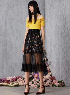 All-matched Mesh Splicing Tied Pleated Skirt