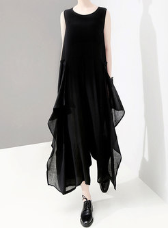 Chiffon O-neck Sleeveless Pure Color Loose Jumpsuit
