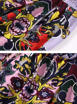 Stylish Print Splicing Slim Pencil Pants