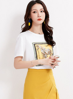 Casual Cotton Print O-neck T-shirt