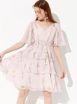 Fashion V-neck Flare Sleeve Print Cake Dress