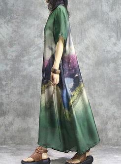 Ethnic O-neck Print Silk Shift Dress