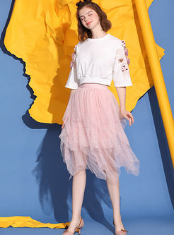 Fashion Embroidered Bead Short T-shirt & Mesh Skirt
