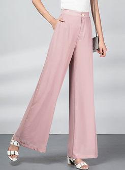 Brief Solid Color High Waist Wide Leg Pants