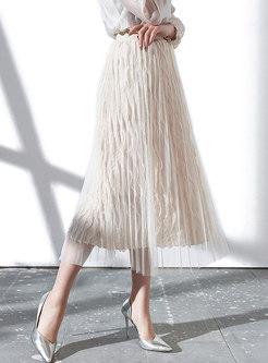 Stylish Mesh Pleated High Waist Hem Skirt