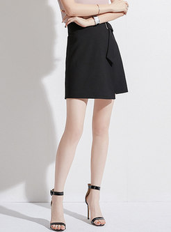Brief High Waist Tied Mini Skirt