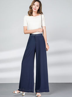 Solid High Waisted Wide Leg Long Pants