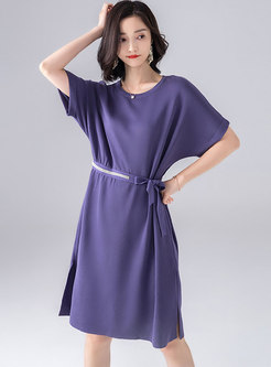 Brief Gathered Waist Purple Bowknot Skater Dress