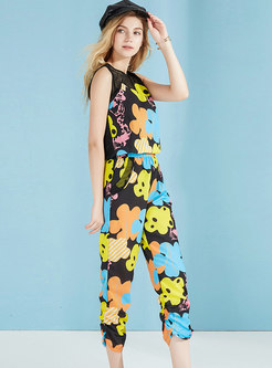 Chic High Waist Print Splicing Sleeveless Jumpsuit